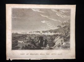 Clarke C1820 Antique Print. View of Naples, from the South-East. Italy